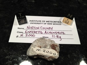 Norton County, Kansas  with Institute of Meteoritics University of New Mexico number N2000.  Fell February 18, 1948 Enstatitie Achondrite  TKW 1.1 tons