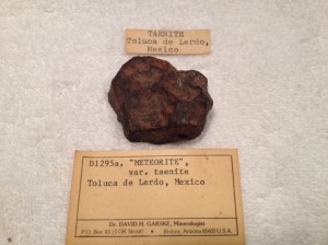 "This is a nice Toluca from an old collection weighing in at 119.1 grams  April 18, 2013 at 5:05am  Emailed Dr Garske last night about this speciman and this was his reply   ""Brings back memories! I was at that location 1979-80. Sold way too  many specimens to remember that one."" Dave"