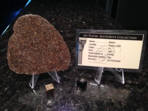 Slaton, Lubbock County, Texas L4 meteorite with a low total known weight.  This is a large slice to only weigh 29.35 grams.  It was sliced really thin and this chondrules really pop on this polished side.